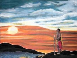 Massai am See im Sonnenuntergang