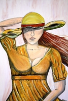 Frau kämpft mit dem Wind