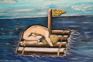 Frau auf dem Floss in Seenot