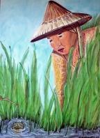 Reisbäuerin mit Fröschen