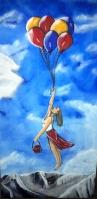 An Ballons schwebende Frau