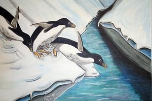 Pinguine rutschen ins Wasser