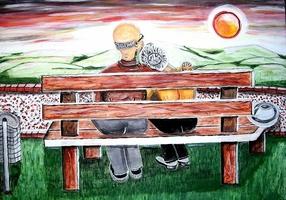 Paar auf der Parkbank
