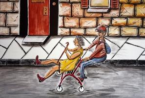 Paar auf dem Rollator