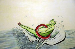 Frosch im roten Schwimmreifen platscht ins Wasser