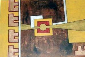 Abstrakte goldene Collage in Ölmischtechnik