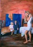 Frau und Kinder in der Künstlerwerkstatt um die Jahrhundertwende