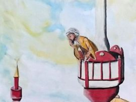 Der bärtige Mann im Minarett