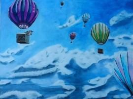 Heißluftballons in den Wolken