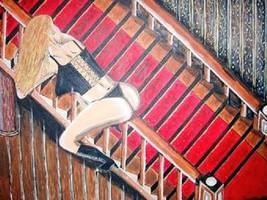 Frau auf dem Treppengeländer