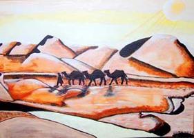 Karawane die durch die Wüste zieht