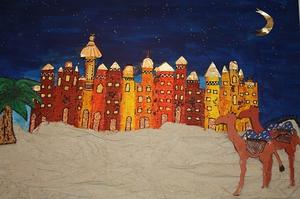 Oase in der Wüste bei Nacht