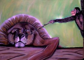 Affe und Löwe