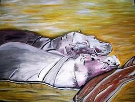 Schlafende Hippos im Teich