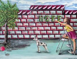 Frau auf der Leiter mit Hund