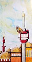 Mann im Minarett über den goldenen Dächern der Stadt