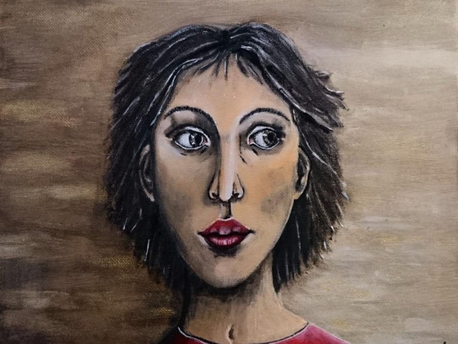 Frauenportrait, ängstlicher Blick